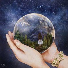 #illustration #drawing #sketch #paint #girl #snowball #, night #nightsky #star #starlight #imagination