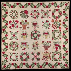 heaveninawildflower:  Baltimore Album Quilt (1847). Appliqued and embroidered. Made for Georgianna Eltonhead Image and text courtesy MFA Boston.