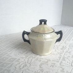 Vintage Ceramic White Luster Ware Sugar Bowl / Made in Czechoslovakia by…