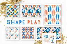 Shape Play Geometric Patterns by Anugraha Design on @creativemarket