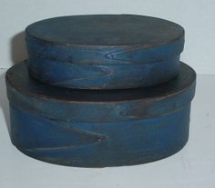Antique Stack of 2 Pantry Box Oval Wood One Finger Shaker Boxes Old Blue Paint | eBay  sold   385.00.    ...~♥~
