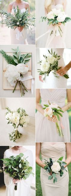 white and green botanical wedding bouquets for 2017 #WeddingIdeasGreen