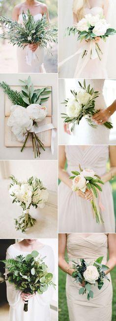 easy DIY simple botanical greenery wedding bouquets for minimalism weddings (Diy Wedding Flowers) Botanical Wedding, Floral Wedding, Wedding Colors, Trendy Wedding, Dress Wedding, Wedding Outfits, 2017 Wedding Trends, Wedding 2017, Boquette Wedding