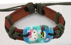 Great Gift. No Fee, Free Shipping. Hello Kitty Leather Cuff Bracelet $3.99 ( I )