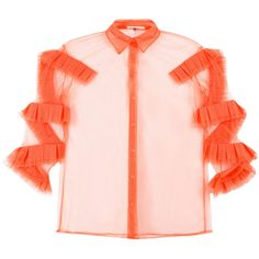 Marco De Vincenzo ruffled details sheer shirt ($1,103) ❤ liked on Polyvore featuring tops, orange, flutter-sleeve top, orange shirt, frilly shirt, pink top and flounce tops