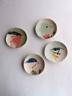 Painted ceramics by Elise Lefebvre Ceramic Birds, Ceramic Plates, Ceramic Pottery, Pottery Art, Ceramic Painting, Ceramic Art, Painted Ceramics, China Painting, Pottery Painting Designs