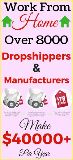Work from home in 2017. Start dropshipping to make money from home. Step by step guide for beginners. Over 8000 Dropshippers, wholesalers, manufacturers and liquidators suppliers and 1.6 million products. ... all certified! Start your own online business and earn money online. Click the pin to see how >>>