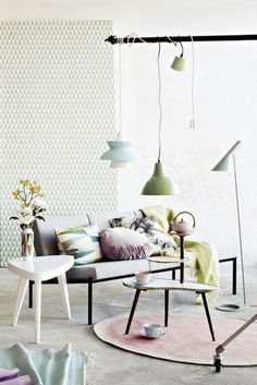 Here we are for another round of Interior Design Tips. Let's learn how to get the perfect living room designs? A living room is one of the most important int. Deco Pastel, Pastel Decor, Pastel Room, Interior Pastel, Interior Styling, Color Interior, Interior Shop, Studio Interior, Interior Plants