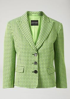 Fine materials and design for this Single Breasted Micro Flower Jacquard Blazer by Emporio Armani Women. Take a look at the official online store now. Emporio Armani, Blazer Pattern, Blazers For Women, Single Breasted, Contemporary Design, Jackets, Collection, Flower, Green