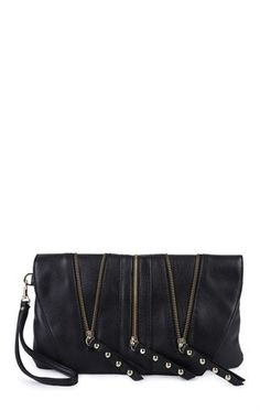 Deb Shops Handbag with 3 Zippers $12.00