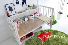Diy Furniture Hacks, Ikea Furniture, Ikea Baby Bed, Ikea Crib Hack, Wooden Baby Crib, Kids Art Space, Old Cribs, Kid Spaces, Baby Cribs