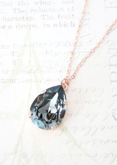 Rose Gold FILLED Swarovski Black Diamond Crystal