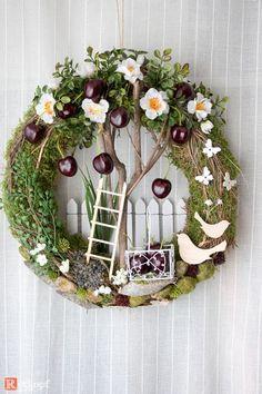 "Door wreaths - door wreath summer ""cherry tree"" - a designer piece by Rotkopf-des ., Door wreaths - door wreath summer ""cherry tree"" - a unique product by Rotkopf-design on DaWanda. Summer Door Wreaths, Easter Wreaths, Holiday Wreaths, Christmas Decorations, Wreath Crafts, Diy Wreath, Grapevine Wreath, Small Wreath, Diy Ostern"