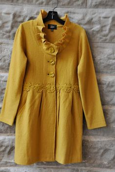 great mustard boiled wool coat