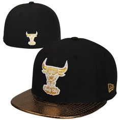 New Era Chicago  Bulls 59FIFTY Metallic Slither Fitted Hat - Black Gold   36.95 Jordan 27277c66aa9