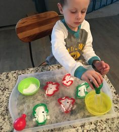 """49 Likes, 7 Comments - Michele Dillon (@michele_dillon) on Instagram: """"Baking soda, vinegar, a drop of food coloring, and cookie cutters! Keeps him busy and happy…"""""""