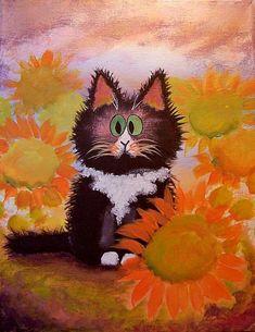 Art: Tuxedo Kitty Cat by Artist Cynthia Schmidt