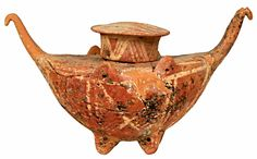 Speciality tripod vessel with lid, shaped boat // Vaulted Tomb from Leven Messaras, Crete // EarlyMinoan Era I - PrePalatial Period (2700 BC)