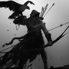 View an image titled 'Bayek & Senu Concept Artwork' in our Assassin's Creed Origins art gallery featuring official character designs, concept art, and promo pictures. Dark Fantasy Art, Fantasy Rpg, Medieval Fantasy, Fantasy Artwork, Dark Art, Ninja Kunst, Arte Ninja, Ninja Art, Fantasy Character Design