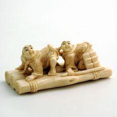 Mammoth Ivory Netsuke - TWO Children ON Bamboo Raft