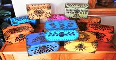 COLOURFUL FREE- HAND DESIGNED PYROGRAPHY BOXES FOR TRINKETS AND TREASURES