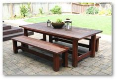 farmhouse picnic table plan   Patio dining table