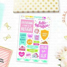 """Treat Yo Self"" Deco Stickers  SHOP: lemonpaperco.etsy.com  #planner #planners #plannerph #plumpaper #happyplanner #mambi #erincondren #eclp #etsy #etsyshop #sale #lifeplanner #stickers #stickersph #kawaii #planneraddict #plannerlove #plannerobsessed #plannerstickers #plannersupplies #plannergoodies #plannergeek #plannernerd #midori #kikkik #filofax #coupon #plannergirl #plannercommunity #plannercommunityph by lemonpaperco"