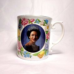 Sutherland bone china mug commemorating the 60th Birthday of Princess Margaret, The Countess of Snowdon.