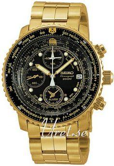 Seiko Chronograph Black Dial Gold Tone Bracelet