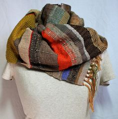Rachael  Handwoven Olive Gray and Black Scarf