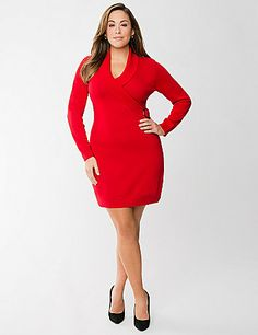 Our style-savvy sweater dress is a feminine addition to your cold weather wardrobe with its fashionable faux wrap silhouette and cute buckle detail. The perfect length for wearing alone or paired with your favorite tights, it features long sleeves and a flattering V-neckline with a ribbed collar. lanebryant.com