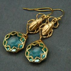 Queen of the Nile Earrings- Featuring vintage glass and brass scarabs.