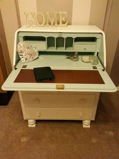 Stunning vintage writing bureau loving restored. Painted in Farrow and Ball Wimborne White and Duck egg blue interior. Original leather pad left...as it should be!!!