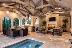 Covered patio with fireplace, outdoor kitchen and inground hot tub Source by dream_house Inground Hot Tub, Jacuzzi, Casa Retro, Design Living Room, Backyard Patio Designs, Patio Ideas, Outdoor Ideas, Backyard Ideas, Garden Ideas