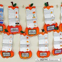How To Carve a Pumpkin Writing Activity - The Creative Classroom Kindergarten Writing, Teaching Writing, Writing Activities, Teaching Ideas, Writing Lessons, Writing Ideas, Writing Prompts, Procedural Writing, Informational Writing