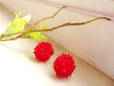 Red clustered Floral Stud Earrings Flower, $15.00 , more #681team gifts: http://www.etsy.com/treasury/MTgxOTY1MzZ8MjcyMzQxMDAxOA/magic-red