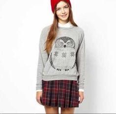 owl pullover sweatshirt for women gray animal sweatshirt for winter