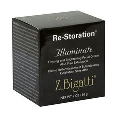 Z. Bigatti Re-Storation Firming and Brightening Facial Cream, Illuminate, AHA Free Exfoliation, 2 oz (56 g) by Z. Bigatti. $175.00. Papain;Glucosamine;Algae;White Tea;Grape Seed;Vitamin E. Reduces The Appearance Of Fine Lines And Wrinkles And Evens Skin Tones. Firming And Brightening Facial Cream. Is PH Compatible With The Skin;Provides Gentle, Continuous Exfoliation. AHA Free Exfoliation. Re-Storation Illuminate - Firming and Brightening Facial Cream is pH compatible with th...