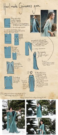Super easy medieval or sorceress gown, witch gown from one piece of fabric.