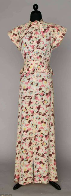 Printed Silk Crepe Day Dress, C. 1932, Augusta Auctions