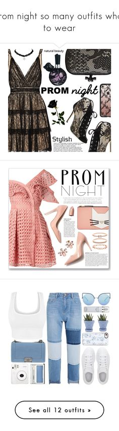 """""""prom night so many outfits what to wear"""" by norahmarie ❤ liked on Polyvore featuring Alice + Olivia, Jimmy Choo, Bottega Veneta, Casetify, self-portrait, M. Gemi, Karl Lagerfeld, Anja, Marchesa and Accessorize"""