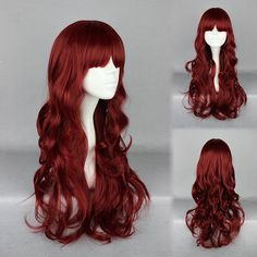 Sexy Wine Red Dishy Full Long Deep Curly Lolita Cospaly Wig