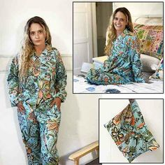Floating on an aqua background is an abundance of floral designs in our long, legged and sleeved cotton pyjamas.
