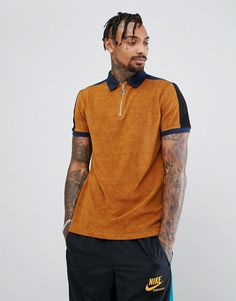 ASOS Polo Shirt In Towelling With Contrast Panelling And Zip Neck - Ta