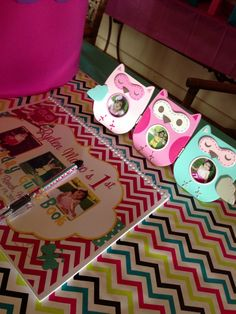 Owl photo frames at sign in table #owlparty Ryden's First Birthday - guest book by SugarShackCrafts