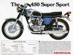 Vintage Motorcycles Honda - Ad - Offered for just two years, the featured a couple of cosmetic changes, including a redesigned tank compared to the Black Bomber. For more information on the check out this link from Liv… Honda Cb, Honda Bikes, Honda Cycles, Classic Honda Motorcycles, Vintage Motorcycles, Honda Motorbikes, Vintage Bikes, Vintage Cars, Womens Motorcycle Helmets