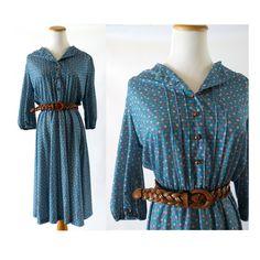 70s Floral Dress / Blue Floral Dress / Prairie Dress / Secretary Dress / Boho Hippie Dress / 1970s Dress / Calico Dress / Size Medium Large by GoodLuxeVintage on Etsy