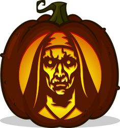 Pumpkin Carving Patterns and Stencils - Zombie Pumpkins! - Valak The Nun pumpkin pattern - The Conjuring 2 / The Nun - Real Time - Diet, Exercise, Fitness, Finance You for Healthy articles ideas Scary Pumpkin Carving Patterns, Funny Pumpkin Carvings, Halloween Pumpkin Carving Stencils, Halloween Pumpkin Designs, Pumkin Carving, Amazing Pumpkin Carving, Pumpkin Carving Templates, Pumkin Stencils, Pumpkin Patterns