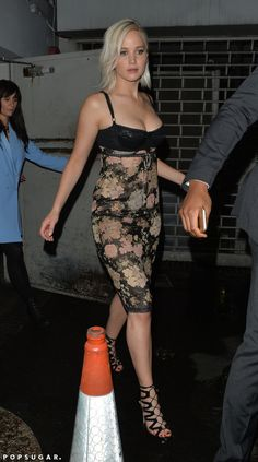Jennifer Lawrence wore a revealing dress for a sexy night out in London.