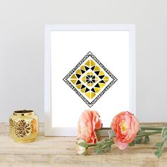 Gold and Black Tribal Art Print, Art Printable, Affordable Art, Gift under 5 by GoldByCafeInk on Etsy